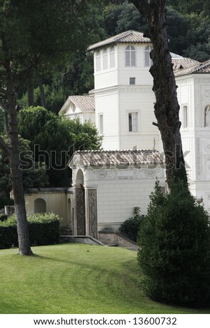 Italian Style Garden And Building, Vatican City, Rome, Italy