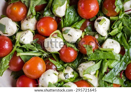 Italian style tomato and mozzarella salad in rustic bowl, from above