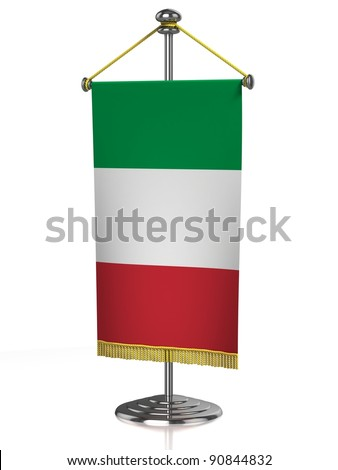 Italian table flag isolated on white