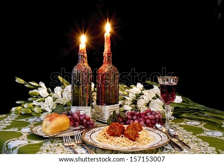 Italian table setting with spaghetti and meatballs on old world tablecloth and candles dripping with candle & Italian Table Setting Spaghetti Meatballs On Stock Photo (Safe to ...