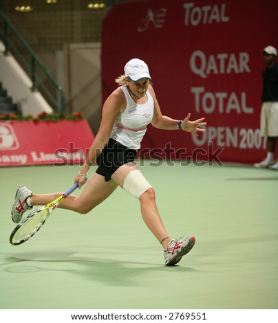 Italian tennis player Romina Oprandi playing in the first round of the Qatar Open ATP tournament, February 26, 2007.