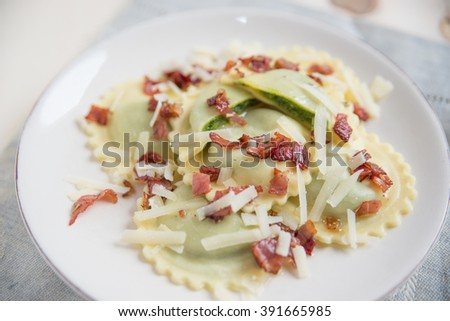 Italian tortellini pasta noodles filled with ricotta and spinach  - stock photo
