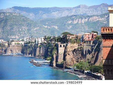 Italian town Sorrento - stock photo