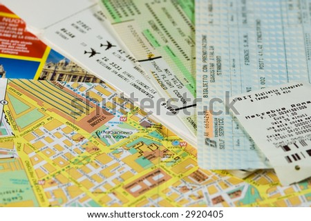 Italian travel documents - stock photo