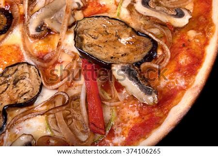 Italian vegetarian pizza with eggplant and mushroom - stock photo