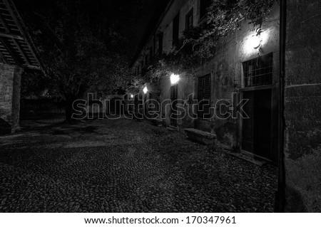 Italian village at night - stock photo