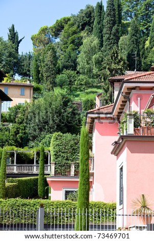 italian villas in Bergamo town. vertical shot