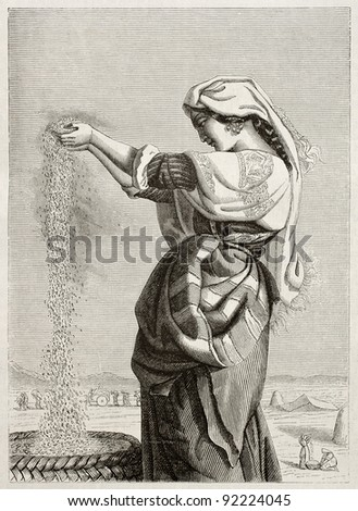 Italian woman wind winnowing in Roman countryside. Created by Lehmann, published on Magasin Pittoresque, Paris, 1845