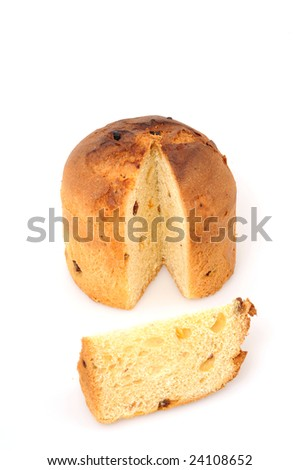 Italien panettone in front of a white background - stock photo
