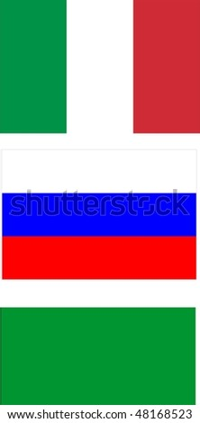 Italy and its best friends during Silvio Berlusconi's government (ended November 12th, 2011) : Qaddafi's Libya and Putin's Russia - flags isolated illustration