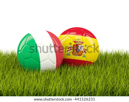 Italy and Spain soccer balls on grass. 3D illustration - stock photo