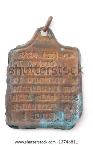 Italy at the Second World War.  Dog tag (identification army badge) of Italian soldier. Path on white background. - stock photo
