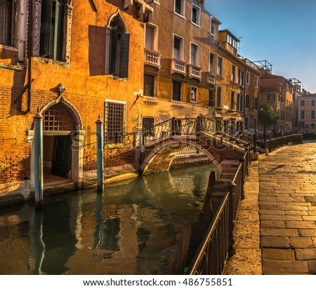 Italy beauty, bridge on one of canal streets in Venice , Venezia