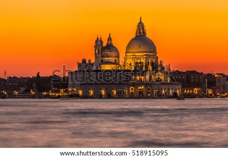 Italy beauty, cupolas of cathedral Santa Maria della Salute in the evening in Venice, Venezia