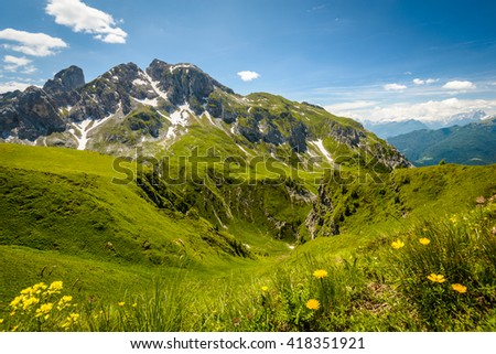 Italy beauty, Dolomites Passo de Giau in summer. - stock photo