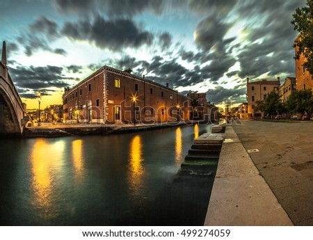 Italy beauty, one of canal streets in Venice , Venezia