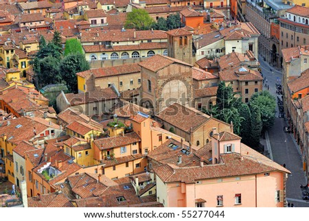 Italy, Bologna aerial view - stock photo