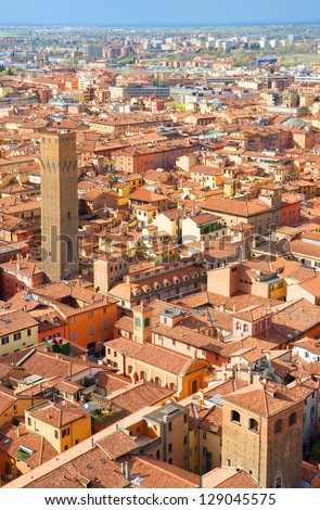 Italy, Bologna aerial view from Asinelli tower - stock photo