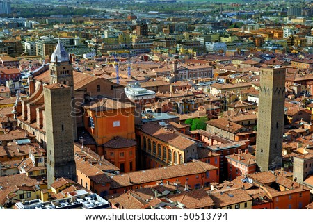 Italy, Bologna aerial view from Asinelli tower. - stock photo