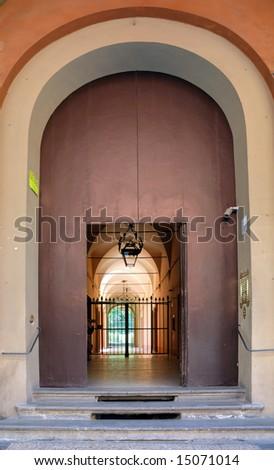 Italy Bologna antique door - stock photo