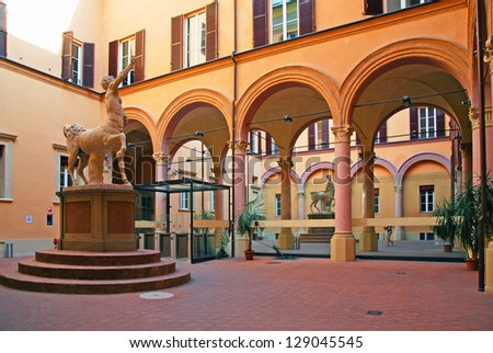 Italy, Bologna medieval house internal portico and courtyard - stock photo