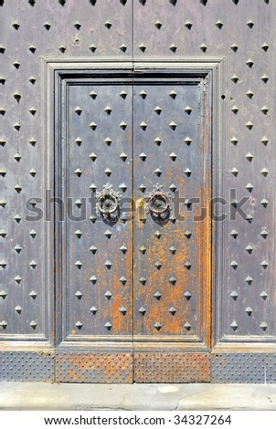 Italy, Bologna old medieval door - stock photo