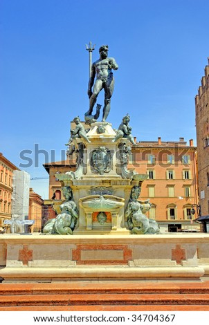 Italy, Bologna the fountain of Neptune
