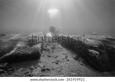 Italy, Calabria, Jonian Sea, Soverato, submerged Roman port ruins - FILM SCAN - stock photo