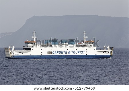 Italy, Calabria, Villa S. Giovanni; 18 November 2010, one of the ferryboats that connect Sicily to the Italy peninsula crossing the sicily channel - EDITORIAL