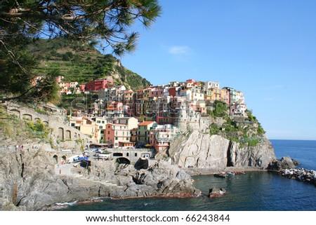 Italy. Cinque Terre. Colorful Manarola village - stock photo