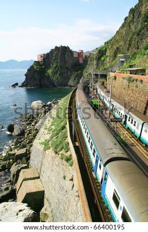 Italy. Cinque Terre. Train at station Manarola village - stock photo