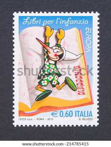 ITALY - CIRCA 2010: a postage stamp printed in Italy showing an image of cartoon character Pinocchio, circa 2010.  - stock photo