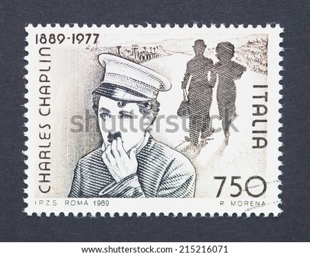 ITALY - CIRCA 1989: a postage stamp printed in United Kingdom showing an image of Charles Chaplin, circa 1989.  - stock photo