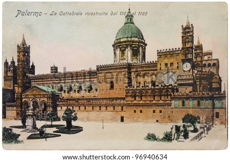 ITALY - CIRCA 1905: a postcard printed in Paris shows hand tinted photograph  of the Cathedral of Palermo, circa 1905. - stock photo