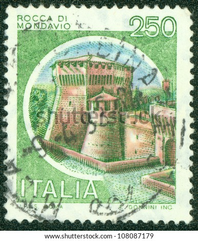 ITALY - CIRCA 1980: A stamp printed by Italy, shows castle, Rocca di Mondavio, circa 1980