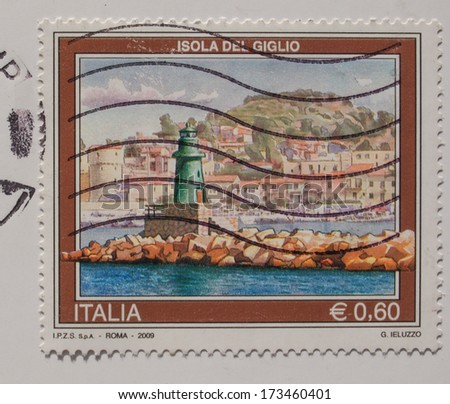 ITALY - CIRCA 2009: A stamp printed in Italy bearing the image of the Isola del Giglio -  with postage meter from Amsterdam - stock photo