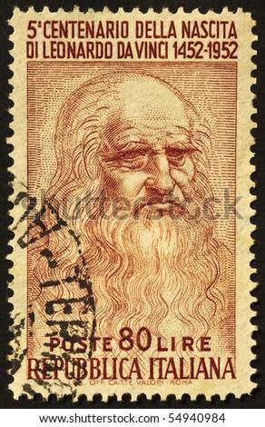 ITALY - CIRCA 1952: A stamp printed in Italy celebrates the fifth centenary of Leonardo da Vinci's birth, famous italian renaissance genius. Italy, circa 1952 - stock photo