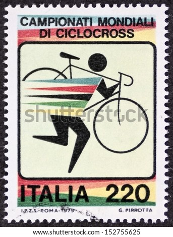 ITALY - CIRCA 1979: a stamp printed in Italy celebrates World Cyclo-cross championship. Italy, circa 1979 - stock photo