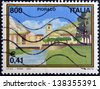 ITALY - CIRCA 2001: A stamp printed in Italy dedicated to Pioraco, circa 2001 - stock photo