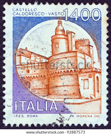 "ITALY - CIRCA 1980: A stamp printed in Italy from the ""Castles"" issue shows Caldoresco Castle, Vasto, circa 1980."