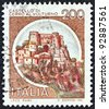 "ITALY - CIRCA 1980: A stamp printed in Italy from the ""Castles"" issue shows Cerro al Volturno, circa 1980. - stock photo"
