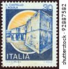 "ITALY - CIRCA 1980: A stamp printed in Italy from the ""Castles"" issue shows L'Aquila Castle, circa 1980. - stock photo"