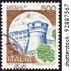 "ITALY - CIRCA 1980: A stamp printed in Italy from the ""Castles"" issue shows Rovereto castle, circa 1980. - stock photo"