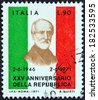 ITALY - CIRCA 1971: A stamp printed in Italy from the issued for the 25th anniversary of Republic shows Giuseppe Mazzini, circa 1971. - stock