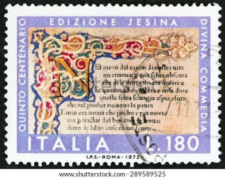 """ITALY - CIRCA 1972: A stamp printed in Italy from the """"500th Anniversary of Dante's Divine Comedy """" issue shows initial and first verse Jesino edition, circa 1972. - stock photo"""