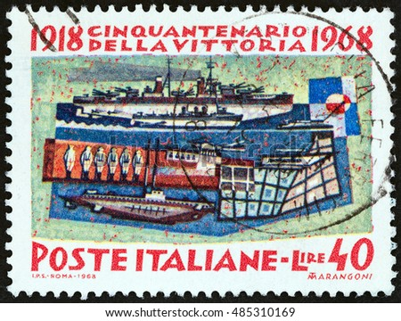 "ITALY - CIRCA 1968: A stamp printed in Italy from the ""50th anniversary of Victory in World War I "" issue shows Naval forces, circa 1968."