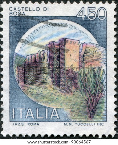 ITALY - CIRCA 1980: A stamp printed in Italy, is shown Castles Bosa, circa 1980 - stock photo