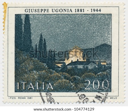 ITALY - CIRCA 1981: A stamp printed in Italy, shows Castle, by Guiseppe gonia (1881-1944), circa 1981 - stock photo