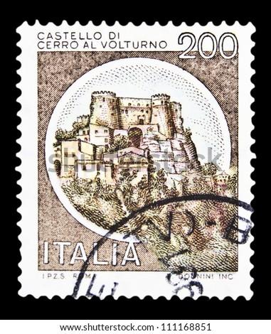 "ITALY - CIRCA 1980: A stamp printed in Italy, shows castle Cerro al Volturno, Isernia with the same inscription, from the series ""Italian castles"", circa 1980 - stock photo"