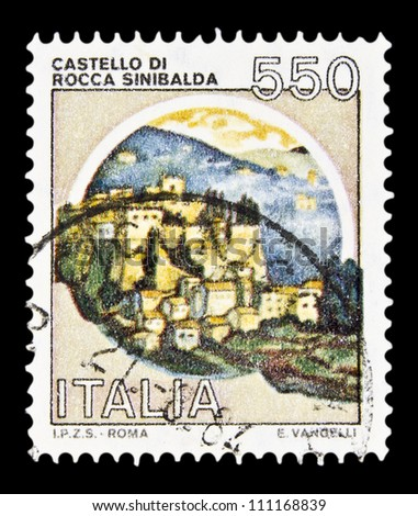 """ITALY - CIRCA 1980: A stamp printed in Italy, shows castle Rocca Sinibalda with the same inscription, from the series """"Italian castles"""", circa 1980 - stock photo"""